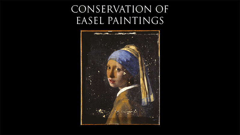 Detail of book cover, 'Conservation of Easel Paintings', depicting Johannes Vermeer's 'Girl with a Pearl Earring' (1665)