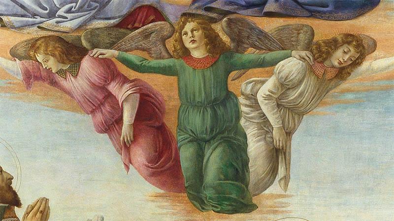 Detail of Sandra Botticelli and Domenico Ghirlandaio's 'Coronation of the Virgin and Saints'